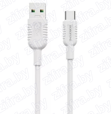 USB кабель BOROFONE BX33 Type-C 5A Billow Flash Charging Data Cable (белый)